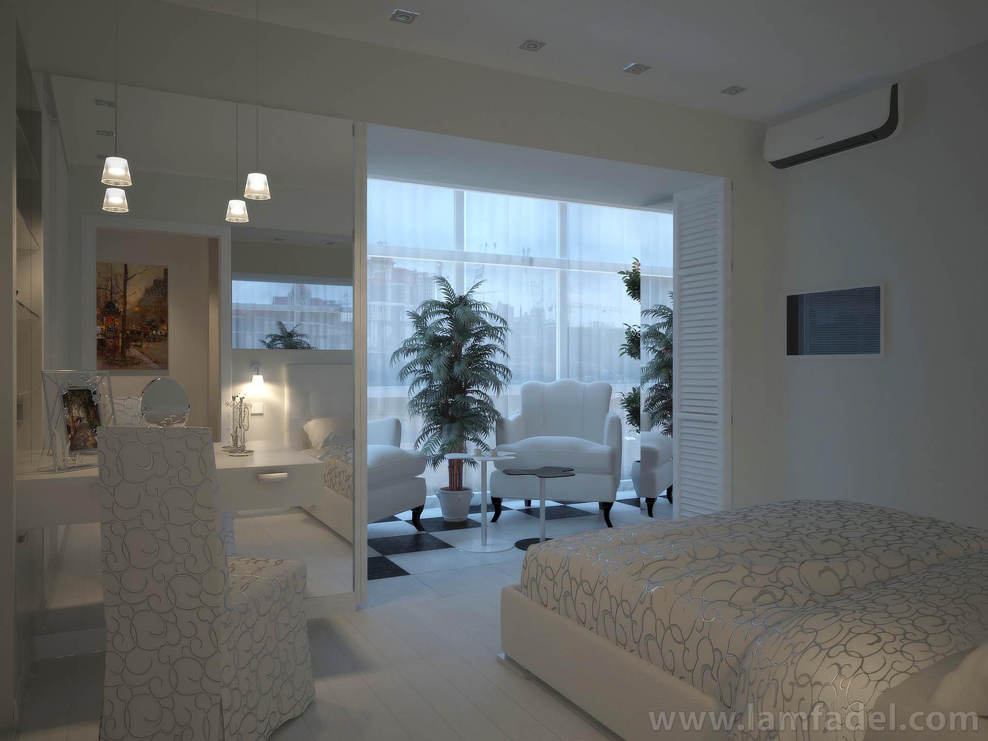 Дизайн спальни с лоджией в квартире фото